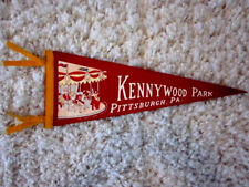 1940's Pittsburgh Pa. KENNYWOOD Amusement Park Carousel Illustrated Pennant NM