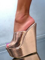 NEU HOHE Mules Sandalen Pumps Schuhe P42 High Heels Slides Keilabsatz Gold 36