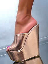 NEU HOHE Mules Sandalen Pumps Schuhe P42 High Heels Slides Keilabsatz Gold 38