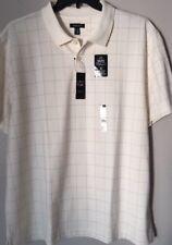 Van Heusen Flex Mens Cotton Blend Ivory Cream Plaid Polo T-Shirt Size XXL $50.00