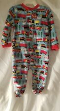6 9 Mo Pajamas Trains Childrens Pjs Feet Sleeves Red Blue Infant New Sleepwear