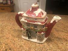 Vintage-1987-Fitz-Floyd-C astel-26 Oz Tea-Pot Christmas Cottage
