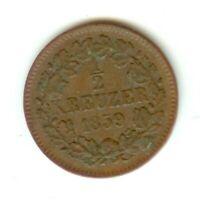 BADEN 1/2 Kreuzer 1859