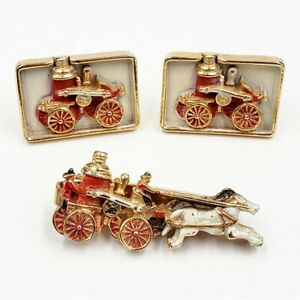 Vintage ANSON Firetruck Cufflinks Tie Clip Boxed Set Fire Engine Horse Drawn