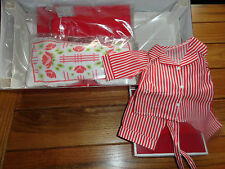 AMERICAN GIRL  MOLLY RED BED + BEDDING + RED STRIPED PAJAMAS NIB RETIRED
