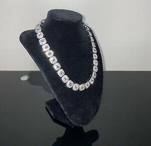 Iced Out Necklace Baguettes High Quality Silver Cz Stones