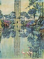 Vintage  Bok Tower in Lake Wales, FL.,Scene Lithograph w Flamingos Bamboo Frame