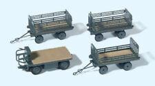 Preiser H0 Art.Nr. 17126  Elektrokarre mit 3 Anhängern  Bausatz!