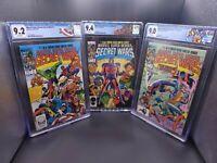 MARVEL SUPER HEROES SECRET WARS 1 2 3 CGC 9.2 9.4 9.0 - LOT OF 3 GRADED BOOKS