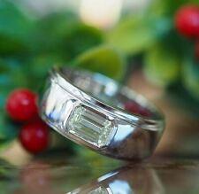 Engagement Ring 925 Sterling Silver 1Ct Emerald White Moissanite Bezel Man's