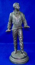 Antique Old France French CHARLES MASSE Spelter Fencer Man Figurine Statue