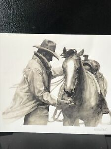 """W.H. Ford Lithograph of Cowboy and Horse print """"Partners"""" 8""""x10"""". Not Framed."""