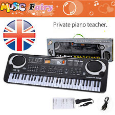 BLACK 61 Key Digital Electronic Keyboard & Microphone Electric LED Piano Organ