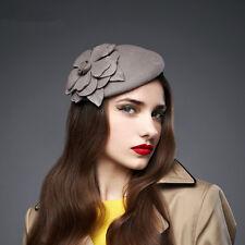 Flower Womens Dress Vintage Fascinator Wool Pillbox Hat Party Wedding A083