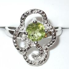 L@@K! NEW WOMENS PERIDOT .94 CTS PLATINUM STERLING RING DIAMOND .01 CT SZ 7 $156