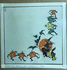 Vintage Halloween Crepe Paper Napkin w/ Witch JOL Black Cat Veggie People