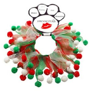 "Christmas Dog Collar Smoocher Elastic Neck Red Green Holiday Costume 12-15"" Neck"