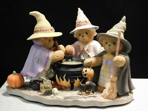 "Cherished Teddies HALLOWEEN ""GISELLE, GERTRUDE & GLENDA"" - 3 Witches w/Cauldron"