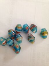 10 7X10mm Aqua Millefiori Glass Beads L@@K #9