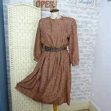 Vintage 80s tea dress chic 40s style brown pin tuck  lined probably silk S D36