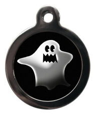 Pet Id tag - Ghost Halloween Picture dog or cat Tag 32mm or 24mm personalised