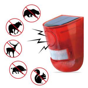 Solar Sound Alarm Alert Flash Warning Motion Sensor Outdoor Burglar Alarm Light