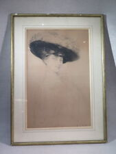 HENRI LE RICHE ANCIENNE EAU FORTE FEMME ELEGANTE AU CHAPEAU 1900
