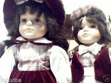 "Estate Boy Girl Porcelain Doll pair 15"" Tall Burgundy Outfits estxhy ceramic"