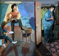 ELVIS - in- blue-bathroom- &- blue- FOOTY- PAJAMAS-painting- art-original