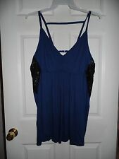 CACIQUE PLUS SIZE 4X 26 28 LINGERIE NAVY BABYDOLL PJS CHEMISE NIGHTGOWN PAJAMAS