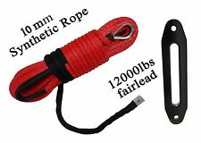 """Red 3/8""""*100ft Synthetic Rope with 12000lbs Hawse Fairlead,ATV SUV Winch Cable"""