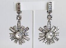 OSCAR DE LA RENTA Silver Tone Crystal Clip Earrings NEW $490