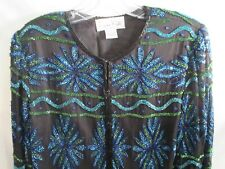 Laurence Kazar Paris-New York Womens Long Sleeve Beaded Sequin Jacket Size Small