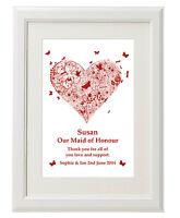 Personalised Bridesmaids Gift - Thank you Print Wedding favour keepsake Free P&P