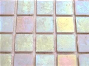Iridescent Mosaic Tiles Tessera, Tesserae 20mm. 75 Tile Pack, Pearl