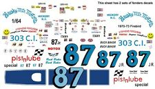#87 Buck Baker 1970-73 Firebird 1/64th Ho Scale Slot Car Waterslide Decals