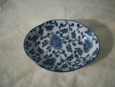 Blue Flowers Oval Shaped Ceramic Candy Dish Floral Design
