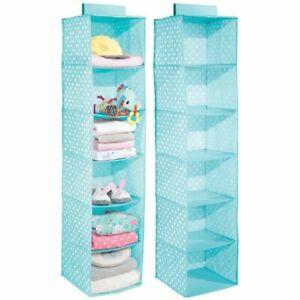 mDesign Kids Fabric Over Closet Rod Hanging Storage, 6 Shelf, 2 Pack - Turquoise