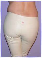 "BNWOT MISS SIXTY CREAM AUGUSTA FAUX LEATHER JEANS: UK SIZE 8 - WAIST 26"" LEG 33"""