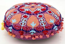 Indian Embroidered Pillow Cover Pom Pom Lace Suzani Cushions Round Shams Throw