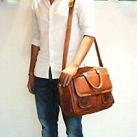 """Large Men's 18"""" Laptop Bag Real Vintage Brown Leather Office Briefcase Messenger"""
