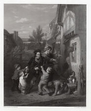 """Sharp 1800s William Mulready Engraving """"Returning from the Ale-House"""" SIGNED COA"""