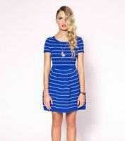 EUC Alannah Hill Sz 12 Ladies Dress Blue White Stripe If One Day Frock Chic Glam