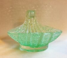 Vintage Italian Murano Art Glass, Green Sea Shell Form, Candy Dish
