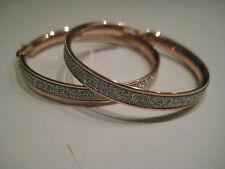 9ct oro rosa cerchio glitter effetto polvere lunare Diamante Orecchini ORA IN