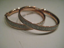 ROSE GOLD HOOP EARRINGS GLITTER MOONDUST DIAMOND EFFECT 9 CARAT LARGE