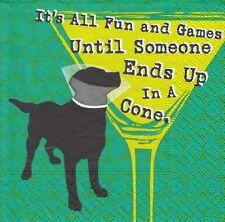 2 Cocktail  Papier Servietten Napkins (U26-11)  Hund und Cocktailglas