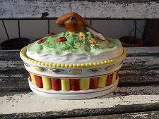Rare ancienne terrine en porcelaine peinte décor tête de lièvre Lapin chasse....