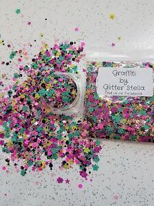Nail Art Mixed Glitter ( Graffiti ) 10g Bag Chunky Flowers Hexagon Stars Multi