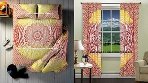 Indian Ombre Mandala Tapestry With Curtains & Duvet Doona Cover 5 PCs Room Set